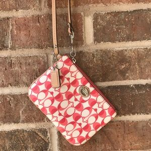 Coach Signature Red and white wristlet
